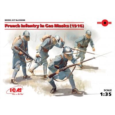 INFANTERIA FRANCESA CON MASCARAS DE GAS 1916 - ICM 35696