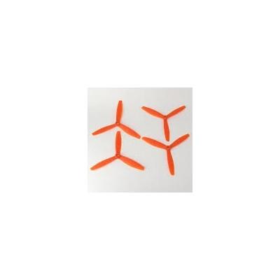 SET 4 HELICES TRIPALAS 4 x 4,5 (normal + invertida) NARANJA - Gemfan 3935