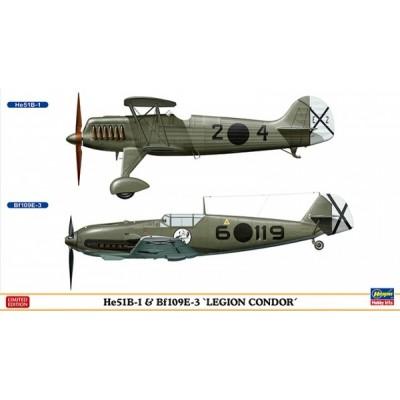 MESSERSCHMITT Bf-109 E3 & HEINKEL He-51 B1 -Legion Condor- Hasegawa 02197