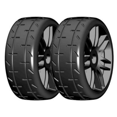 PAR RUEDAS GT T01 REVO XX-BLANDA 1/8 LLANTA NEGRA - GRP GTX01-S1