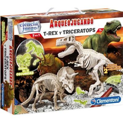 ARQUEOJUGANDO T-REX Y TRICERATOPS - CLEMENTONI 55054
