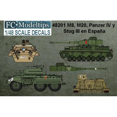 SET CALCAS Carros Panzer IV, Blindado M-8 & M-20 Y Cañon Asalto STUG III G 1/48 - FC Modeltips 48201