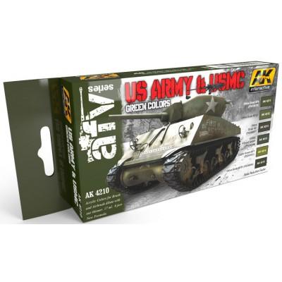 Set Colores: VERDE U.S. ARMY & U.S.M.C. - AK Interactive 4210