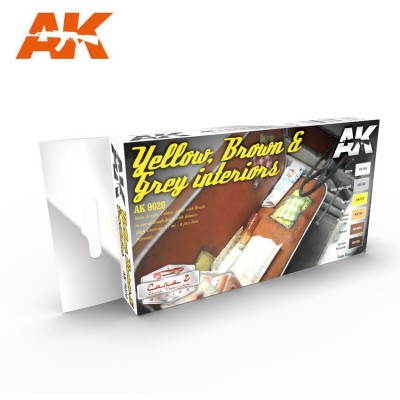 Set Colores: YELLOW, BROWN & GREY INTERIORS - AK Interactive 9020