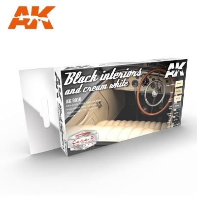 Set Colores: BLACK INTERIORS AND CREAM WHITE - AK Interactive 9010