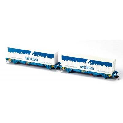 SET 2 VAGONES PORTACONTENEDORES MC3 RENFE - CONTENEDORES ASTURIANA - EP V - MF TRAIN N33349 - ESCALA N
