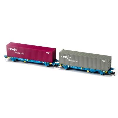 SET 2 VAGONES PORTACONTENEDORES MC3 RENFE MERCANCIAS - EP V - MF TRAIN N33352 - ESCALA N