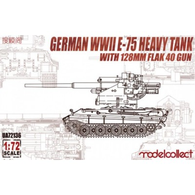 CARRO E-75 CON FLAK 40 128MM - ESCALA 1/72 - MODELCOLLECT UA72136