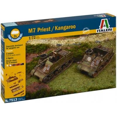 OBUS M-7 PRIEST/ Transporte Tropas M-7 KANGAROO (2 unidades) ESCALA 1/72 - MONTAJE RAPIDO - Italeri 7513