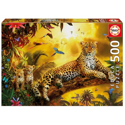 PUZZLE 500 PZAS LEOPARDO CON CACHORROS EDUCA 17736