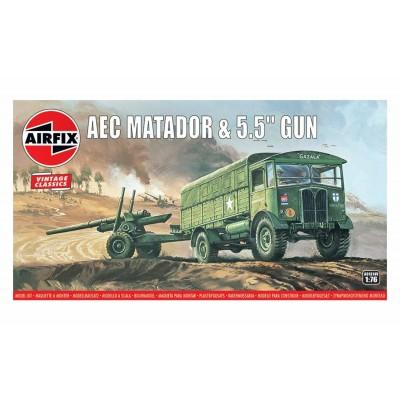 CAMION AEC MATADOR & OBUS 5,5 inch 1/76 - Airfix A01304V VINTAGE COLLECTION