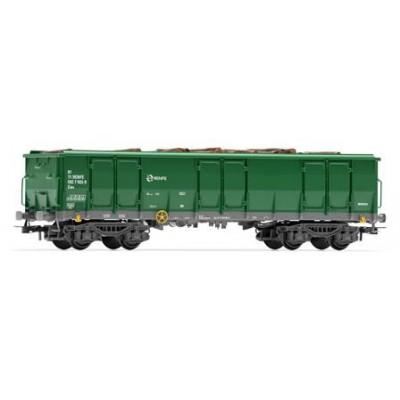 VAGON RENFE ABIERTO 4 EJES, Tipo EALOS (Verde) TRONCOS, Ep. V.VI - Electrotren E6541