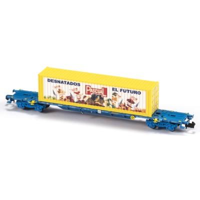 VAGON MF TRAIN N33401 -PORTACONTENEDORES MMC3E SGNSS RENFE TRANSPORTE COMBINADO CONTENEDOR PASCUAL - ESCALA N