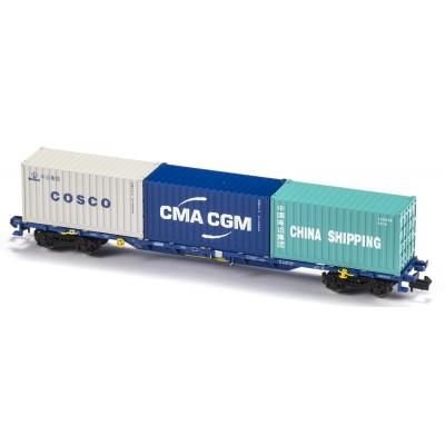 VAGON MF TRAIN N33406 -PORTACONTENEDORES MMC3E SGNSS CONTINENTAL RAIL - ESCALA N