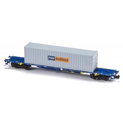 VAGON MF TRAIN N33407 -PORTACONTENEDORES MMC3E SGNSS CONTINENTAL RAIL - ESCALA N