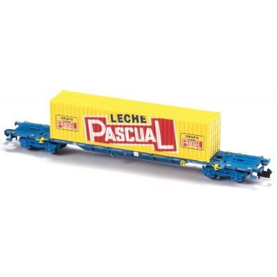 VAGON MF TRAIN N33402 -PORTACONTENEDORES MMC3E SGNSS RENFE TRANSPORTE COMBINADO CONTENEDOR LECHE PASCUAL - ESCALA N