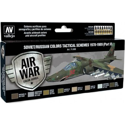 MODEL AIR SET: SOVIET-RUSSIAN AF SCHEME TACTICAL 2 1978-1989 COLORS (8 BOTES 17ML) - ACRILICOS VALLEJO 71608