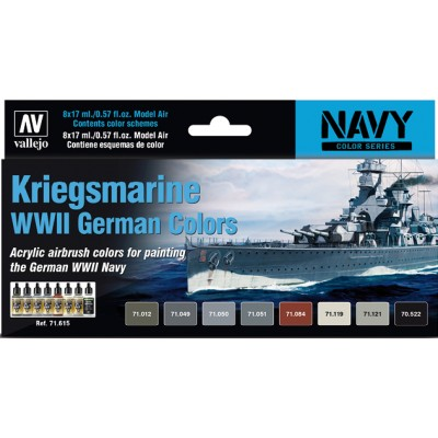 MODEL AIR SET: KRIEGSMARINE WWII COLORS (8 BOTES 17ML) - ACRILICOS VALLEJO 71615