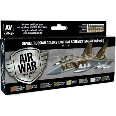 MODEL AIR SET: SOVIET-RUSSIAN AF SCHEME TACTICAL 1 1960-2000 COLORS (8 BOTES 17ML) - ACRILICOS VALLEJO 71609