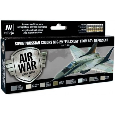 MODEL AIR SET: SOVIET-RUSSIAN AF MIG-29 FULCRUM COLORS (8 BOTES 17ML) - ACRILICOS VALLEJO 71605