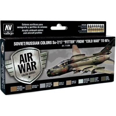 MODEL AIR SET: SOVIET-RUSSIAN AF SUKHOI SU-7/17 FITTER COLORS (8 BOTES 17ML) - ACRILICOS VALLEJO 71604