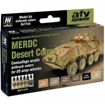 MODEL AIR SET: MERDC DESERT COLORS (6 BOTES 17ML) - ACRILICOS VALLEJO 71212