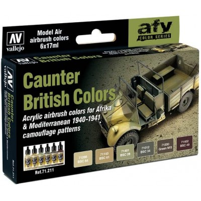 MODEL AIR SET: CAUNTER BRITISH SCHEME COLORS (6 BOTES 17ML) - ACRILICOS VALLEJO 71211