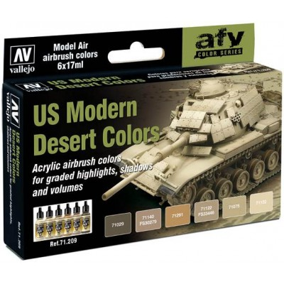 MODEL AIR SET: US MODERN DESERT COLORS (6 BOTES 17ML) - ACRILICOS VALLEJO 71209