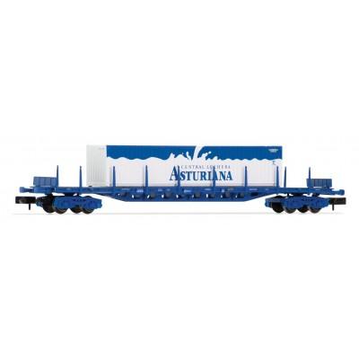 VAGON PLATAFORMA AZUL TIPO RGS RENFE CON CONTENEDOR CENTRAL LECHERA ASTURIANA - ESCALA N - ARNOLD HN6405