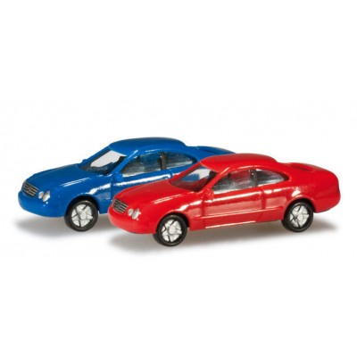 SET MERCEDES-BENZ CLK (Azul / Rojo) 2 unidades - Herpa 065146-002