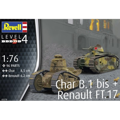 CARRO DE COMBATE RENAULT FT.17 & CHAR B.1 bis -1/76- Revell 03278