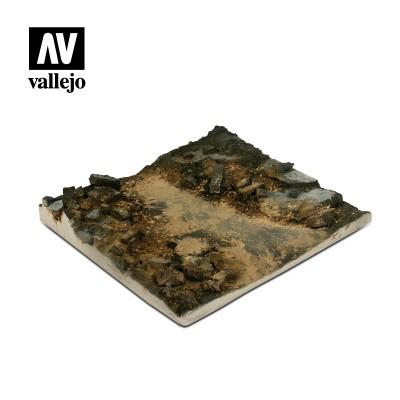 Scenics: BASE CALLE CON ESCOMBROS (140 x 140 mm) -1/35- Acrylicos Vallejo SC002