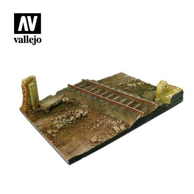 Scenics: BASE CAMINO CON VIA DE TREN (310 x 210 mm) -1/35- Acrylicos Vallejo SC104
