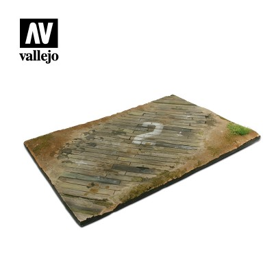 Scenics: BASE CAMPO AVIACION SUELO DE MADERA (310 x 210 mm) -1/35- Acrylicos Vallejo SC102