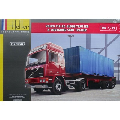 CAMION VOLVO F12-20 Globetrotter & REMOLQUE CONTAINER -1/32- Heller 81702