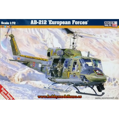 AUGUSTA BELL AB-212 EUROPEAN FORCES -escala 1/72- MISTER CRAFT 040543