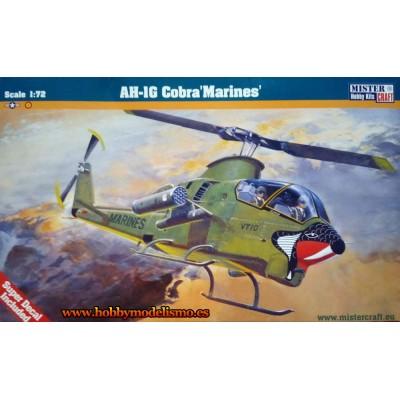 HELICOPTERO AH-1G COBRA MARINES - ESCALA 1/72 - MISTER CRAFT 020347 - CALCAS ESPAÑOLAS