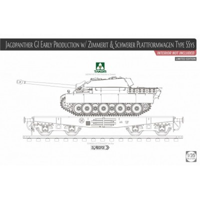 CAZACARROS Sd.Kfz. 173 Jagdpanther G Early (Zimmerit) & VAGON PLATAFORMA SSys -1/35- Takom 2125X