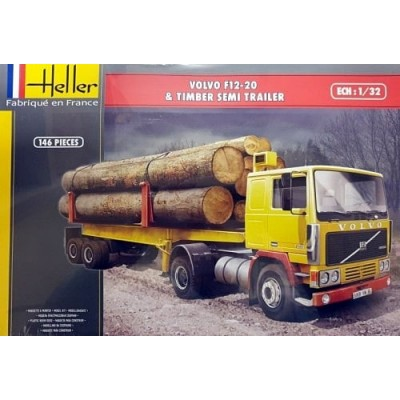 CAMION VOLVO F12-20 Globetrotter & REMOLQUE TRONCOS -1/32- Heller 81704