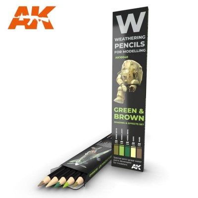 Watercolor pencil: GREEN and BROWN - AK Interactive 10040