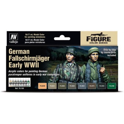 SET COLORES FALLSCHIRMJAGER EARLY -8 botes- Acrylicos Vallejo 70185