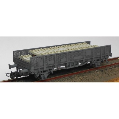 VAGON TRANSPORTE TRAVIESAS COLOR GRIS - ESCALA H0 - KTRAIN 0717B