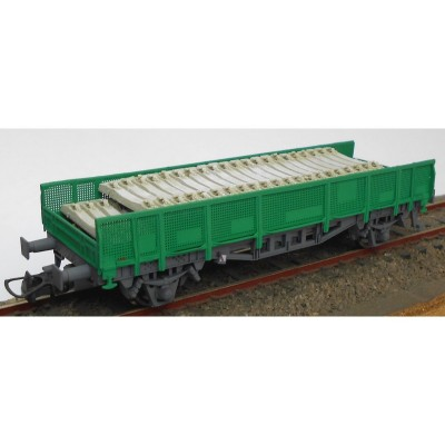 VAGON TRANSPORTE TRAVIESAS COLOR VERDE - ESCALA H0 - KTRAIN 0717E