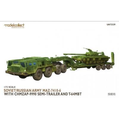 TRACTO MAZ-7410-6 & SEMITRAILER ChMZAP + CARRO DE COMBATE T-64 -1/72- Modelcollect UA72329