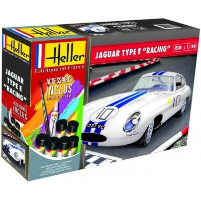 """JAGUAR Type E """"RACING"""" (Pegamento & Pinturas) 1/24 - Heller 567830"""