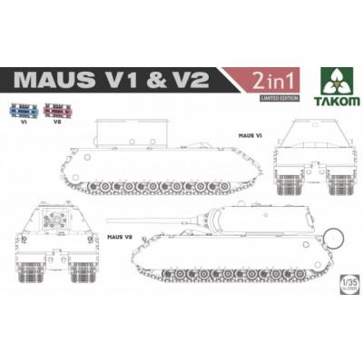 CARRO DE COMBATE Sd. Kfz. 205 MAUS V1 / V2 (2 en 1) -1/35- Takom 2050x