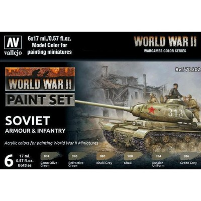 SET COLORES SET SOVIET ARMOUR & INFANTRY -6 botes- Acrylicos Vallejo 70202