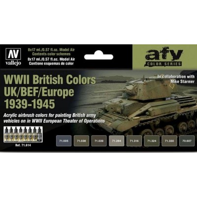 SET COLORES SET WWII BRITISH COLORS UK/BEF/EUROPE 1939-1945 -8 botes- Acrylicos Vallejo 71614