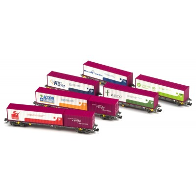 SET 6 PLATAFORMAS PORTACONTENEDORES RENFE TREN DE VALORES - ESCALA N - MF TRAIN N 33424