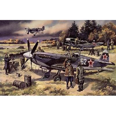 -DEFENSA DE MOSCU 1941- (Supermarine Spitfire + Mikoyan Gurevich MIG-3 + Yakolev Yak-7 + Dotacion de tierra) - ICM 48024